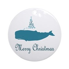 Whale Merry Christmas Ornament (round)