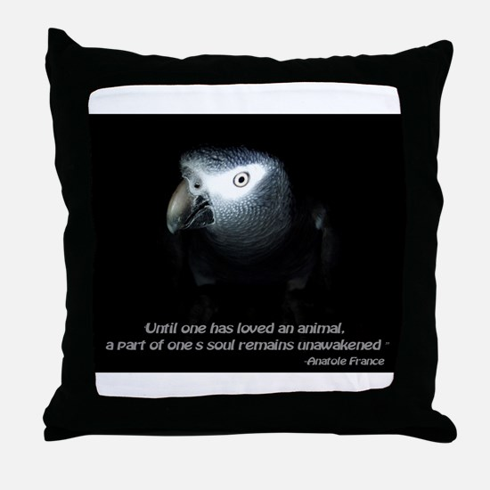 Timneh African Grey with Quote Throw Pillow