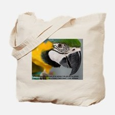 Blue and Gold Macaw with Quote Tote Bag