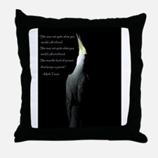 Cockatiel with Mark Twain Quote Throw Pillow