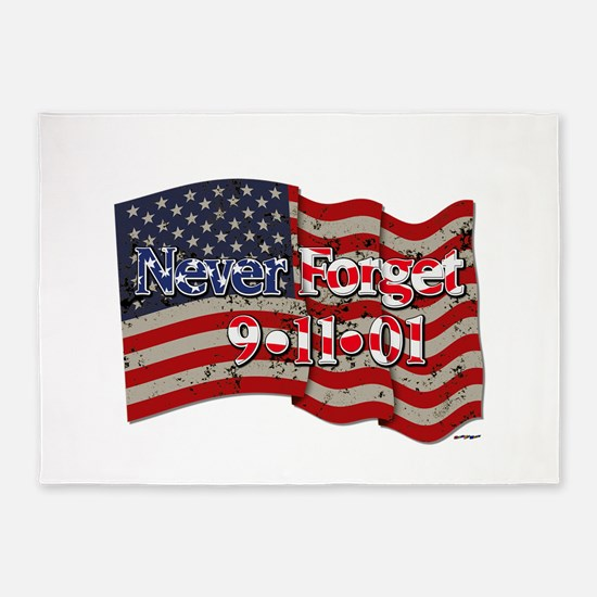 911 Never Forget American Flag 5'x7'Area Rug
