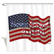 911 Never Forget American Flag Shower Curtain