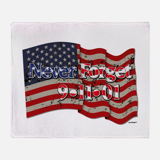911 Never Forget American Flag Throw Blanket