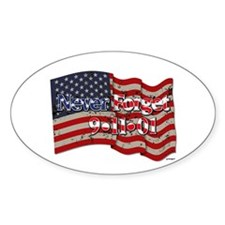 911 Never Forget American Fla Sticker (oval 10 Pk)