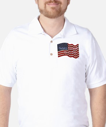 911 Never Forget American Flag Golf Shirt