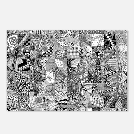 Cute Zentangle Postcards (Package of 8)