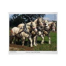 American Cream Draft Horse Team Throw Blanket
