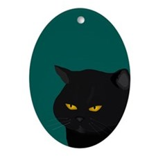 Black Cat Ornament (oval)