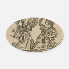 Medieval Knights Swords and Armor Oval Car Magnet