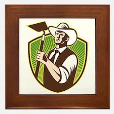 Organic Farmer Holding Grab Hoe Shield Framed Tile
