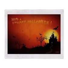 Cute Halloween castle Throw Blanket