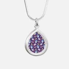 Outer Space Astronaut ro Silver Teardrop Necklace