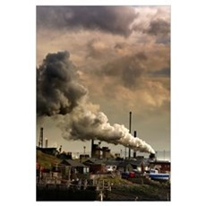 Black Smoke Emitting From Factory Smokestack Poster