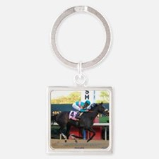 Horse Racing Square Keychain Keychains