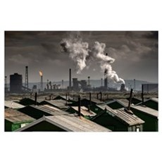 Rooftops With A Factory In Background; Teesside, N Poster