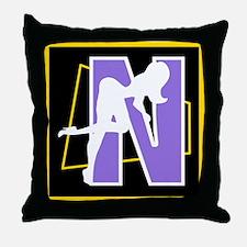 Naughty Initial Design (N) Throw Pillow
