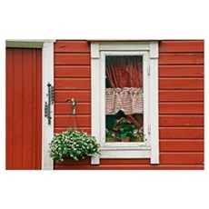 Red Wooden House With Plants In And By Window, Clo Poster