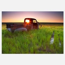 Abandoned Pick-Up Truck Sitting In A Field At Suns