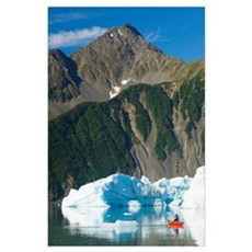 Canoeist Paddles Amongst The Icebergs In Bear Glac Poster