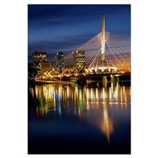 Esplanade Riel Footbridge On Red River, Winnipeg, Framed Print