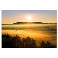 Mist Over The Fields At Sunrise In Bas-Saint-Laure Framed Print