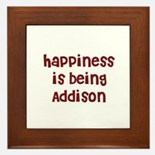 happiness is being Addison Framed Tile