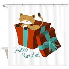 Feline Navidad Shower Curtain