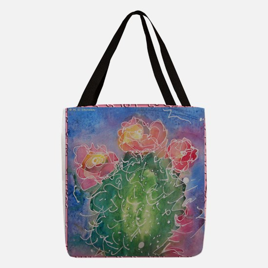 pink cactus blossoms, southwest art Polyester Tote