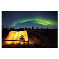 Trappers Tent Lit Up With Aurora Borealis, Manitob Poster