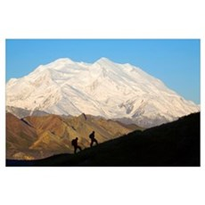 Two Hikers View Mckinley At Grassy Pass, Denali Na Poster