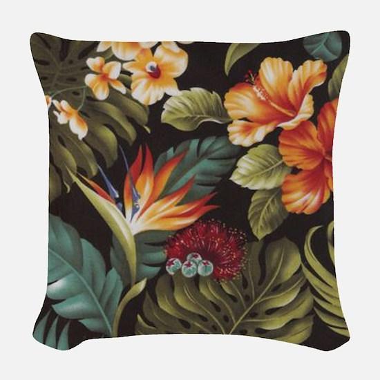 Hawaiian flowers Woven Throw Pillow