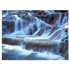 Water And Rock At Dunns River Falls, Close Up Poster