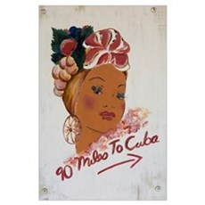 Florida Keys, 90 miles to Cuba sign, Key West Poster