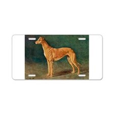 Greyhound Watercolor Aluminum License Plate
