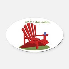 Stay-cation Oval Car Magnet