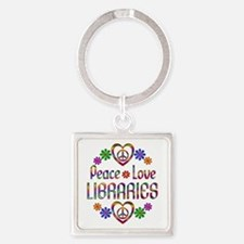Peace Love Libraries Square Keychain