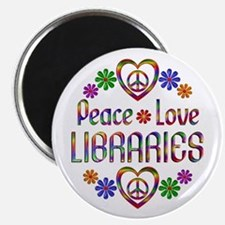 """Peace Love Libraries 2.25"""" Magnet (10 pack)"""