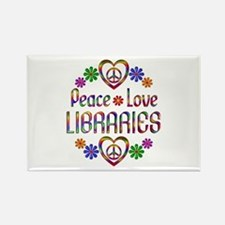 Peace Love Libraries Rectangle Magnet