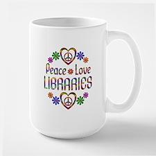 Peace Love Libraries Large Mug