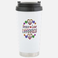 Peace Love Libraries Stainless Steel Travel Mug