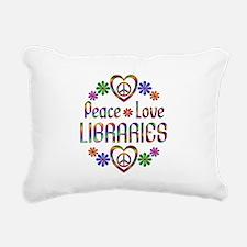 Peace Love Libraries Rectangular Canvas Pillow