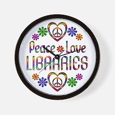 Peace Love Libraries Wall Clock