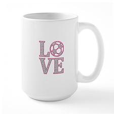 LOVE SOCCER GLITTER PINK Mugs