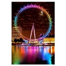 Big Wheel Aka London Eye Lit Up With The Rainbow C Framed Print