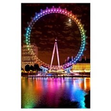 Big Wheel Aka London Eye Lit Up With The Rainbow C Poster