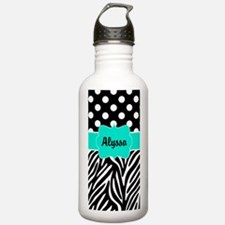 Black Teal Dots Zebra Personalized Water Bottle