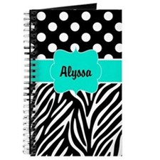 Black Teal Dots Zebra Personalized Journal