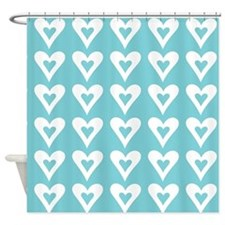Hearts Love Turquoise Pattern Shower Curtain