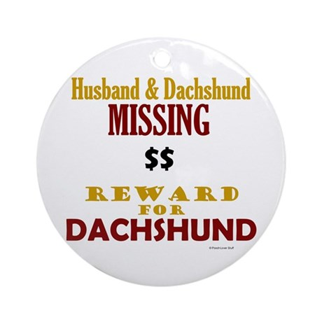 Husband & Dachshund Missing Ornament (Round)