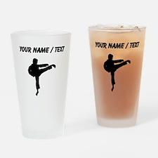 Custom Karate Kick Silhouette Drinking Glass